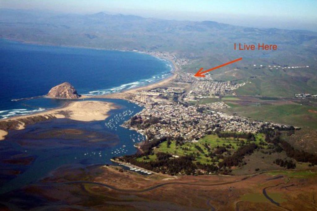 Location of house relative to Morro Bay, and Morro Rock