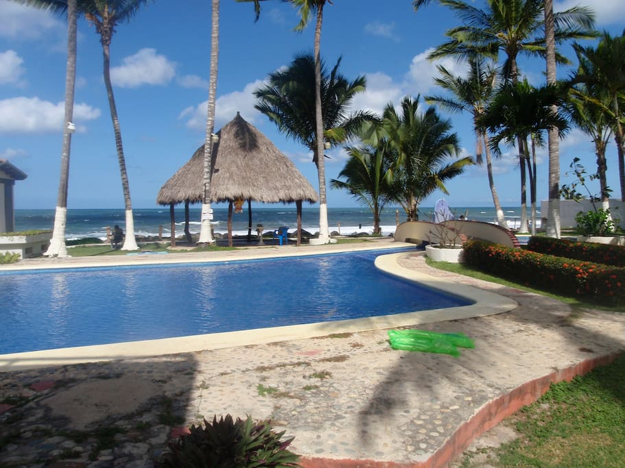Villas del Palmar's Pool and Beachfront Area