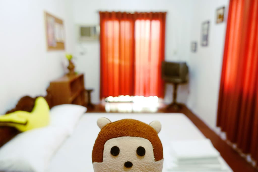 Room 1: This room is good for 3 guests. Two can sleep on the bed, one on the floor mattress.