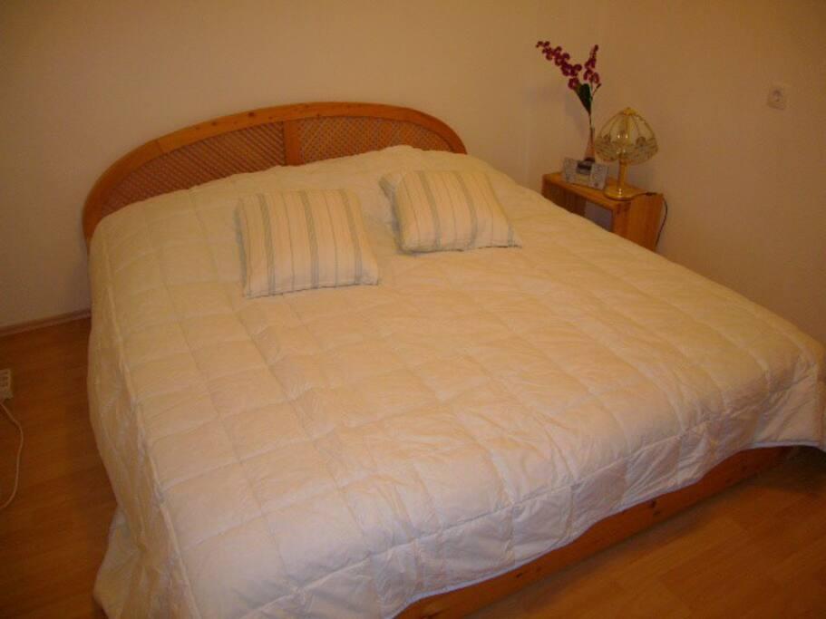 Schlafzimmer mit Echtholzbett