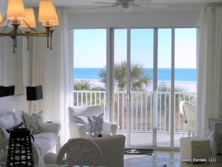 Ocean's Edge - Beautiful, newly-updated 2 bedroom/2 bath condo in the Inn at Dauphin Island, with direct Gulf views and great second-floor location
