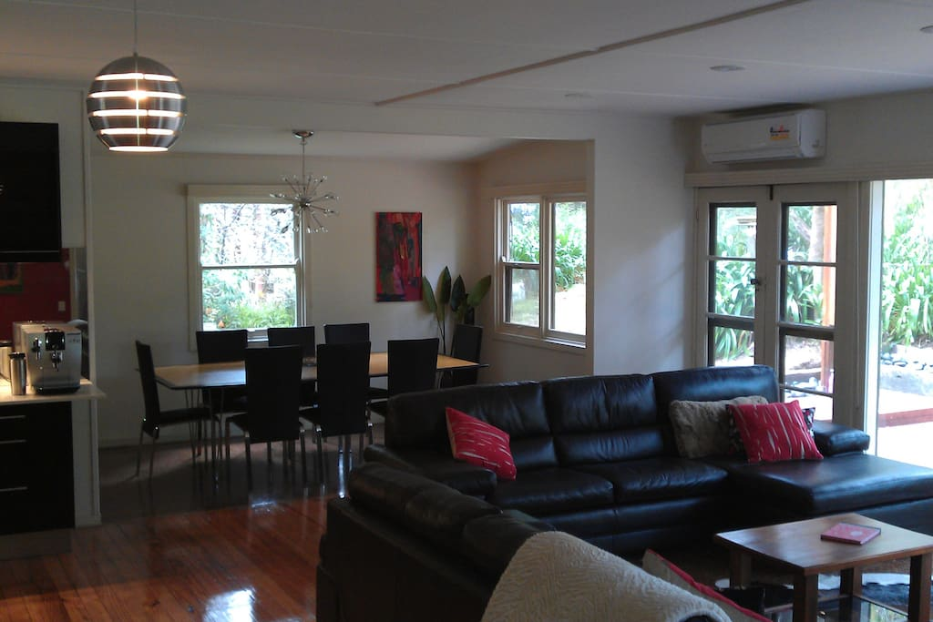 spacious lounge dining area overlooking stunning views of foreshore area