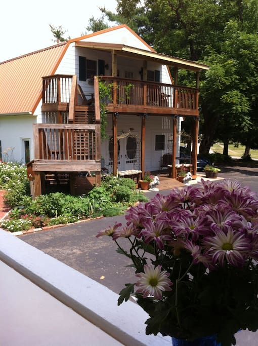The Carriage House hosts 3 Suites:  2 on ground floor, one loft above! Tall ceilings and hardwood floors, lovely kitchenettes & covered decks! Lower right offers large walk in shower