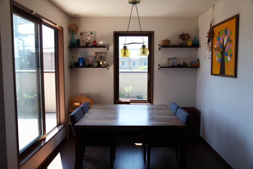 Dining area, table sits 8 people max