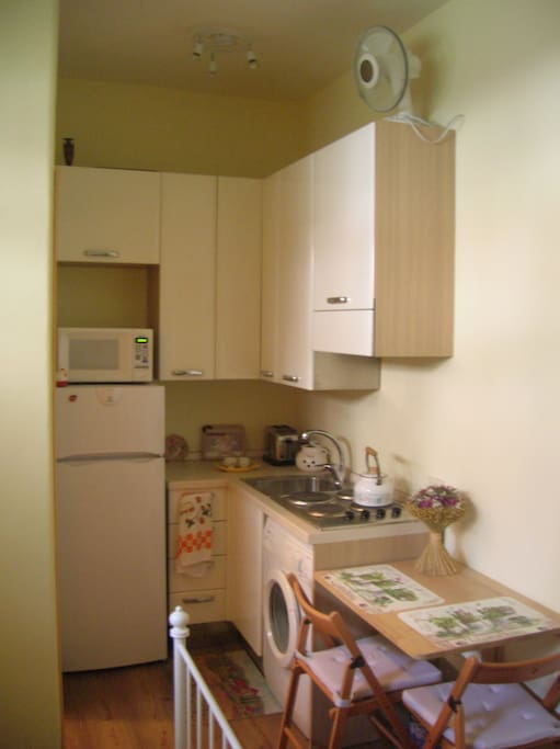 Newly installed kitchen with washing machine for clothes.