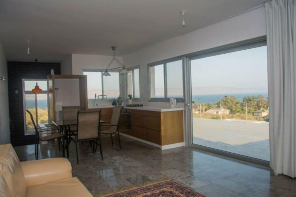 Modern Kitchen beautiful view of Sea of Galilee