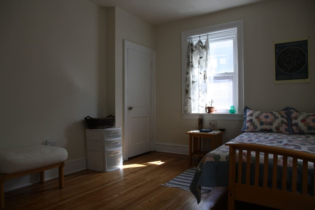 A ceiling fan and free wifi are available in the room, as well as information about Philadelphia and the neighborhood!