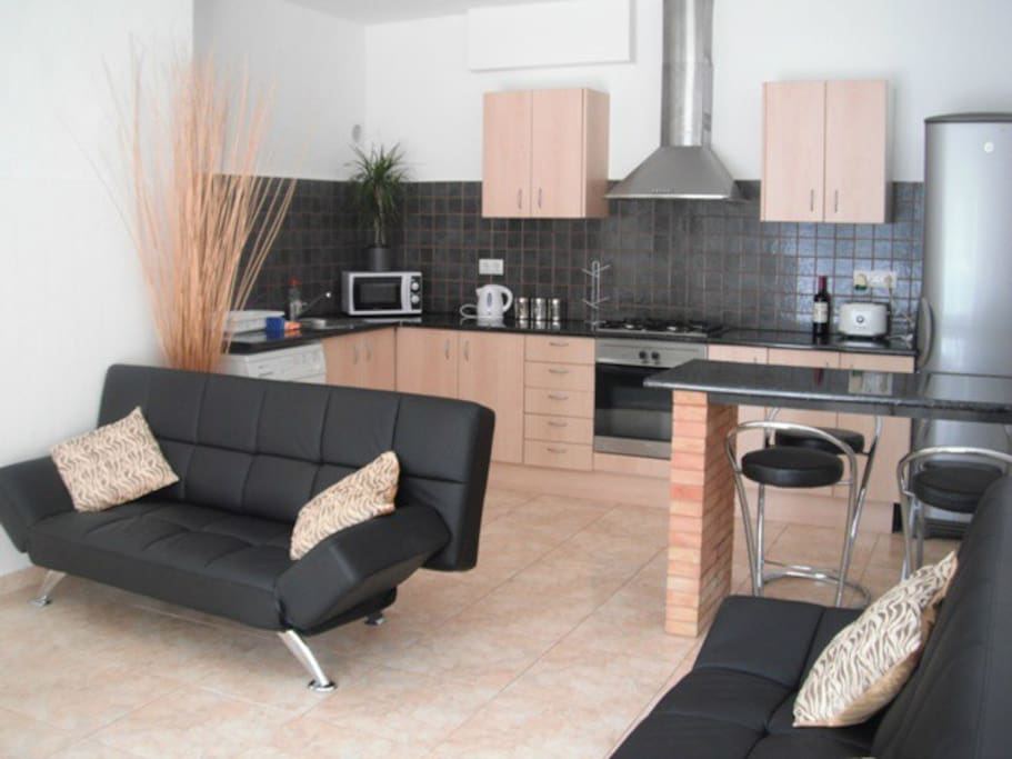 Lounge and Kitchen,  multi language TV, outlook on forest