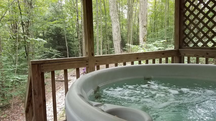 Hot tub view overlooking wooded lot.  Completely private and secluded.