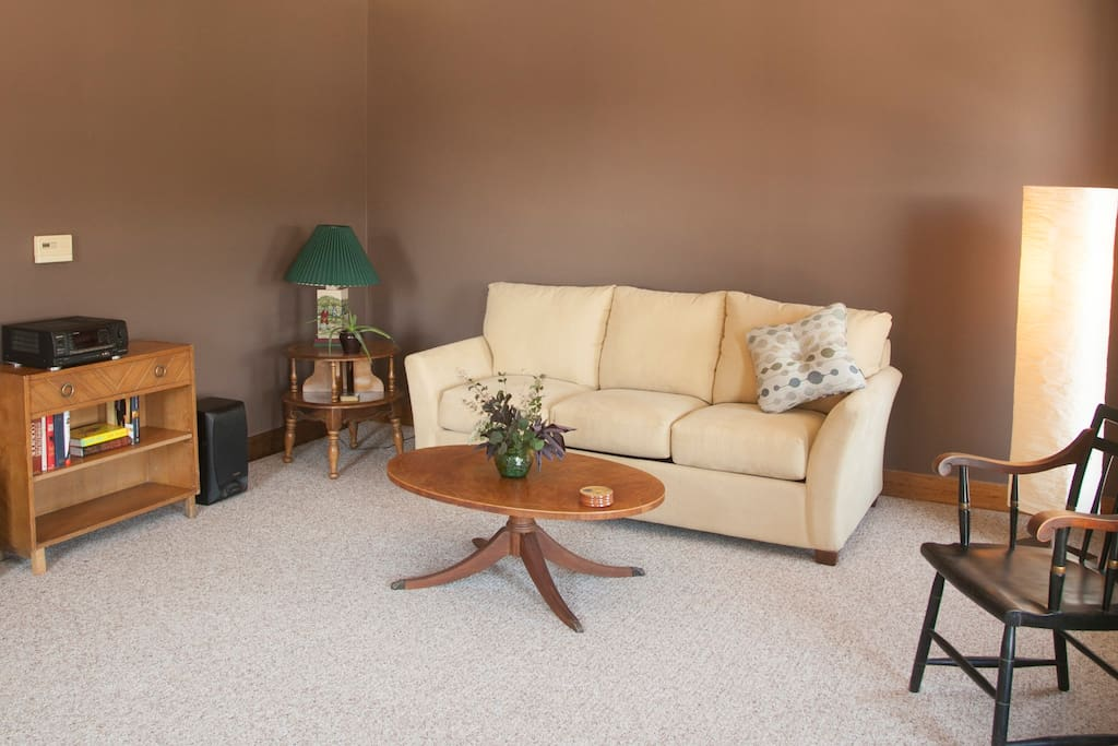 Living Room with LazyBoy pull out couch with comfty Queen mattress