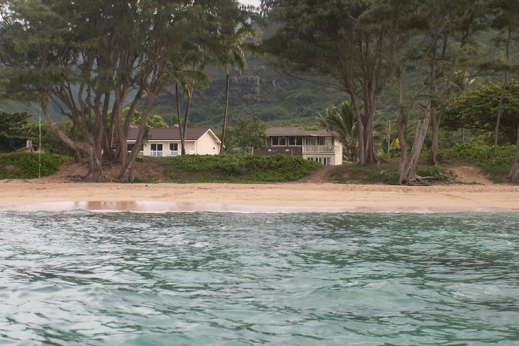 View of the house (on the right) from the ocean. Very tropical!