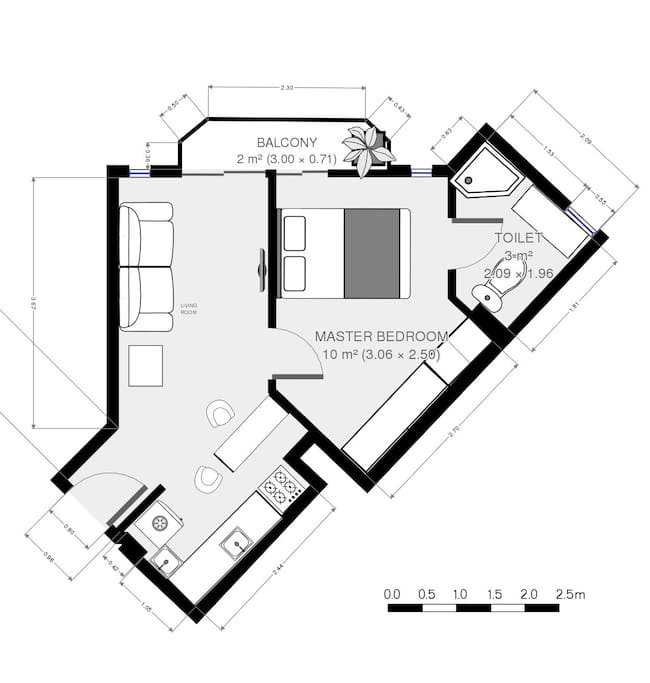 Apartment floor plan (approximation generated with the MagicPlan app)
