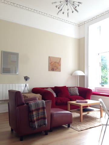 Open-plan Living Area with (very comfy) Habitat sofa bed.