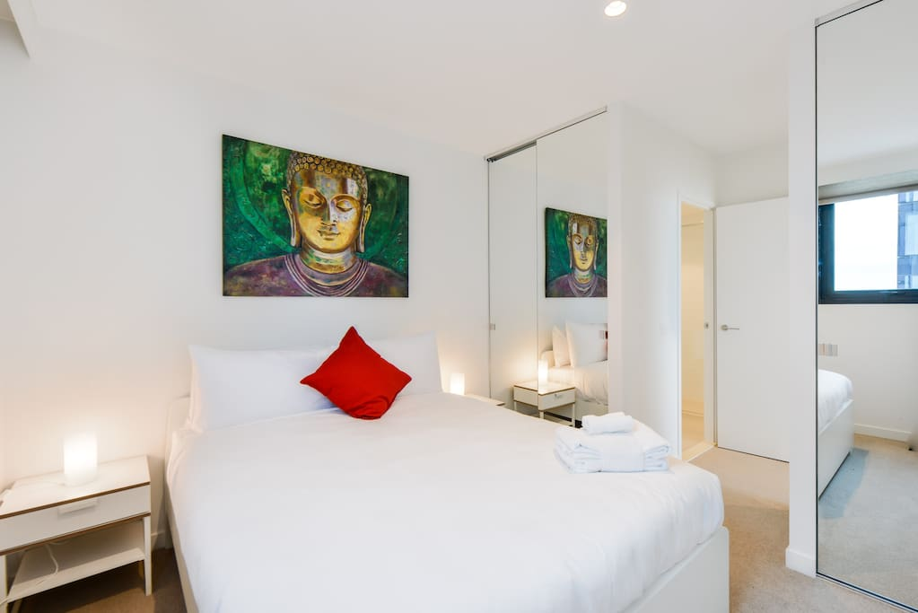 In the master bedrom, sleep well with a queen sized bed, immaculately designed to fit the stylish