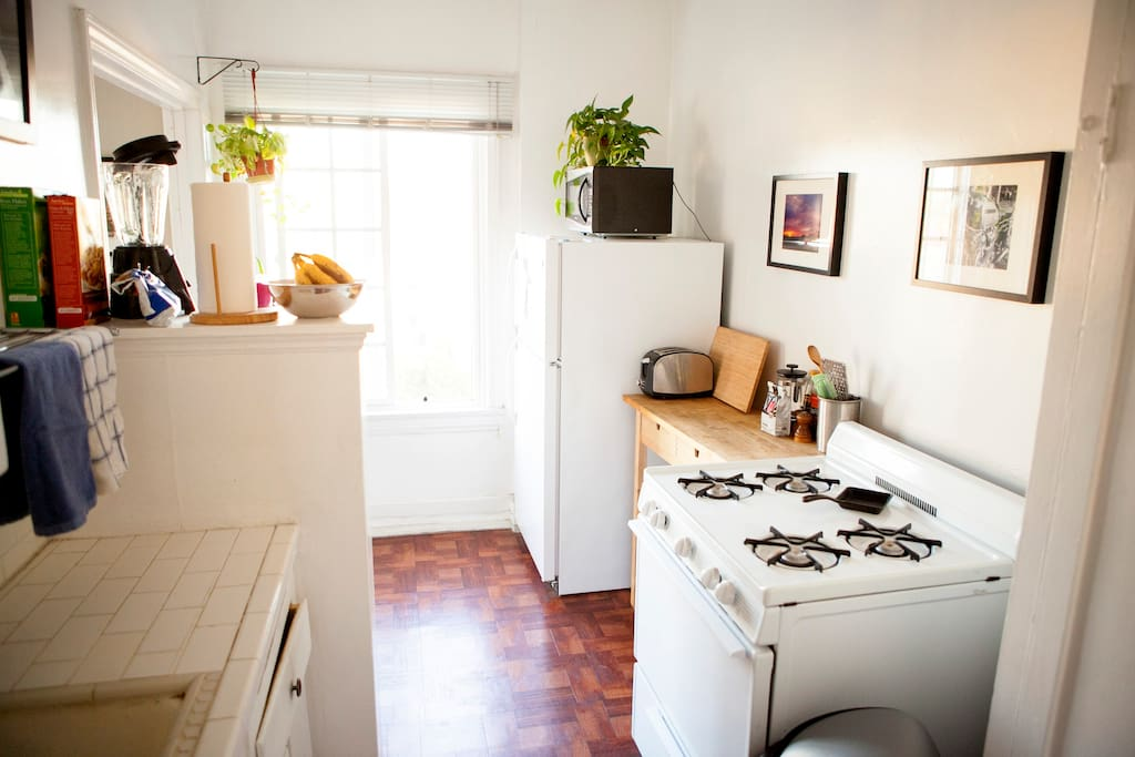Separate kitchen with space to cook.