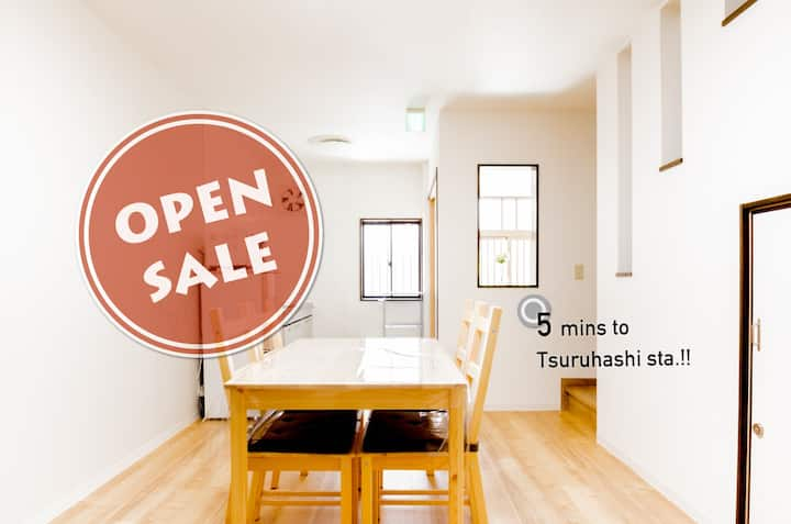 6 min to Namba by train! Spacious House for 8ppl!