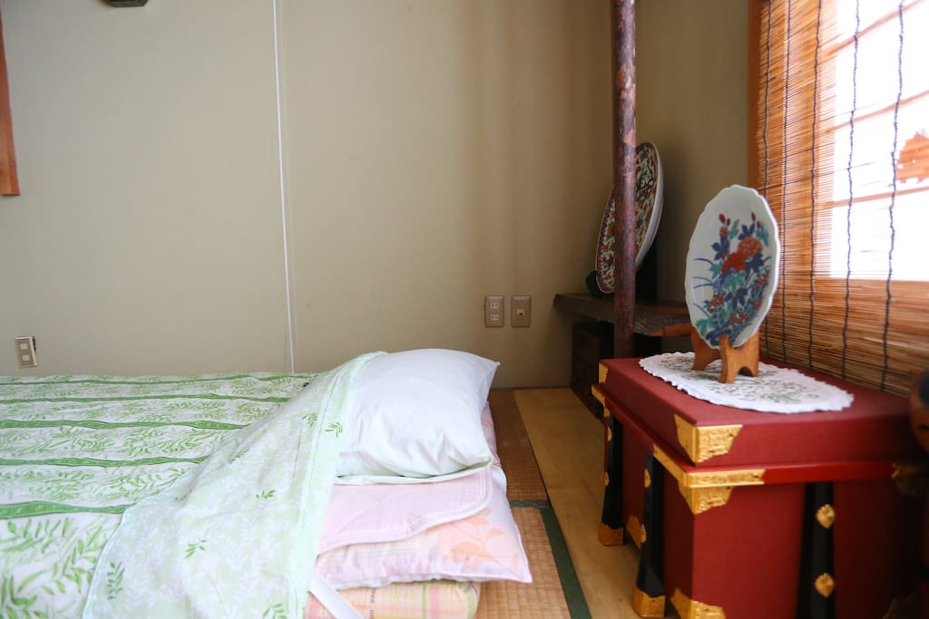 Futon set and decoration in room