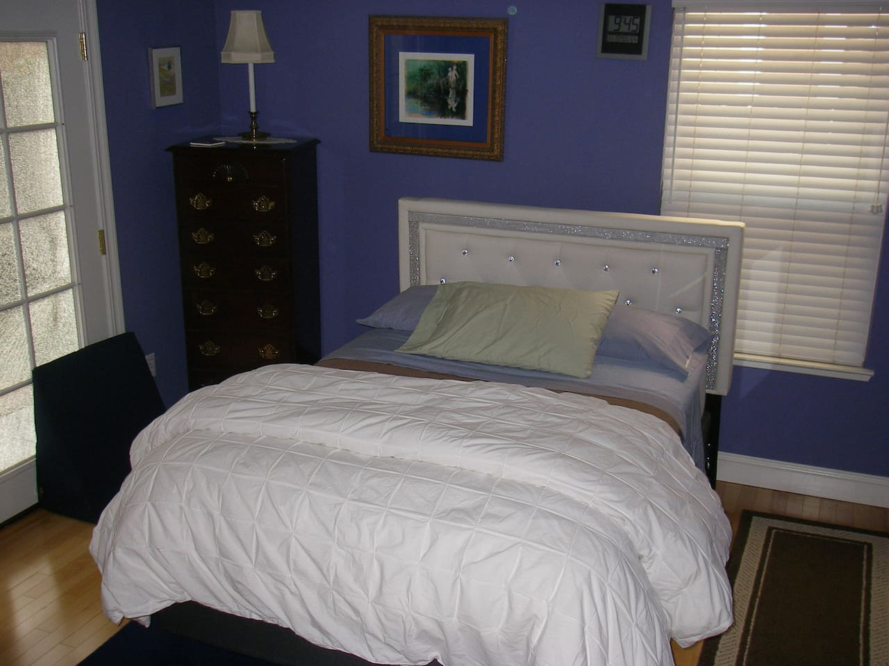 Comfy full bed with memory-form firm mattress.
