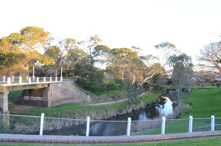 Angas River with walking track in Strathalbyn