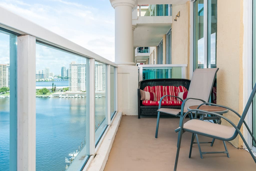 Large balcony with full bay view