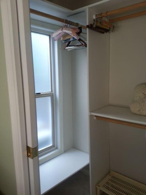 Generous, in-room full-size closet.