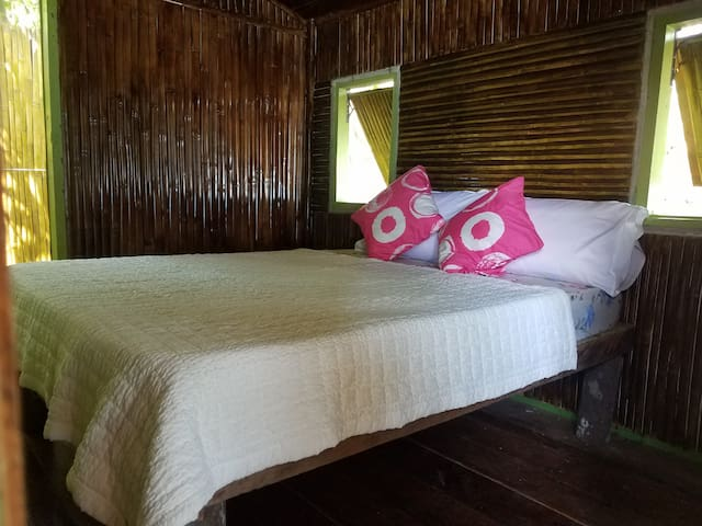 Queen size bed for the smaller chalets
