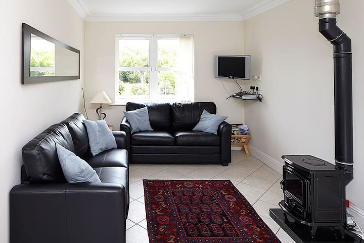 living room with oil stove, free internet connection and Sky TV