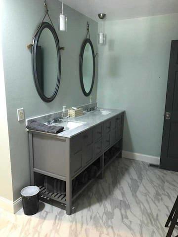 Main floor master dual vanity