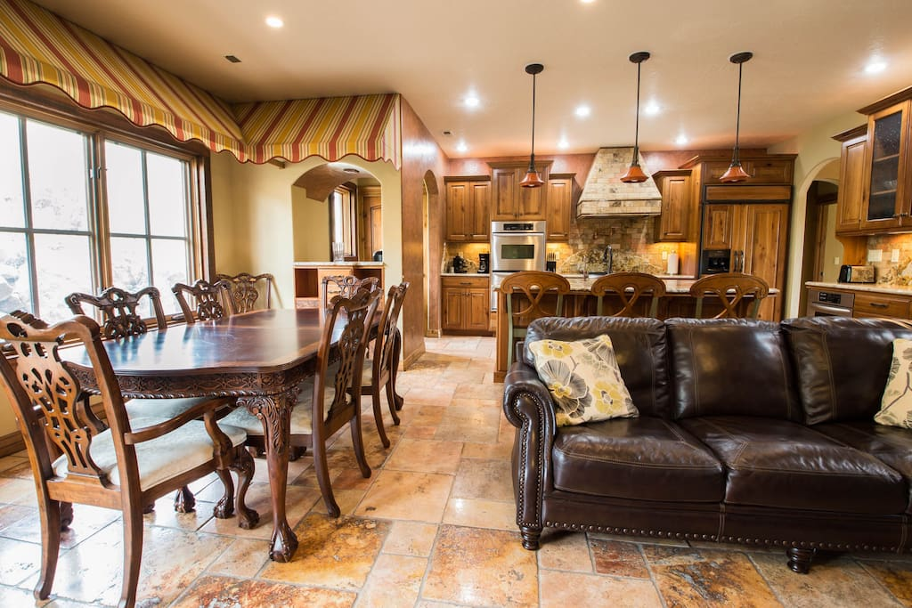 Formal dining room, living room, and scrumptious kitchen.
