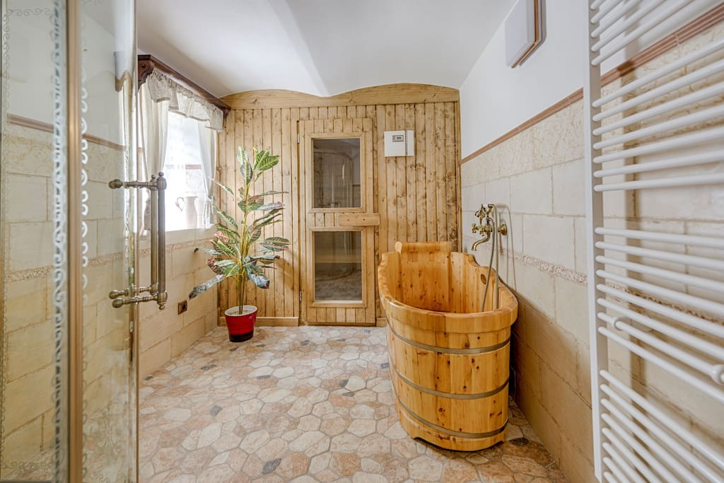 Sauna with wooden bath and shower