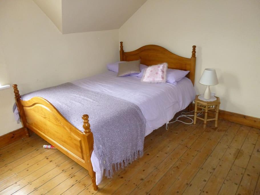 Bedroom with queen-sized bed and en-suite shower room