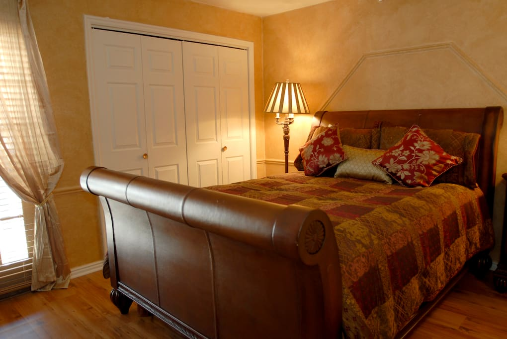 Master Bedroom.  Queen Sleigh bed.  Full Bathroom, Jacuzzi tub and private balcony.