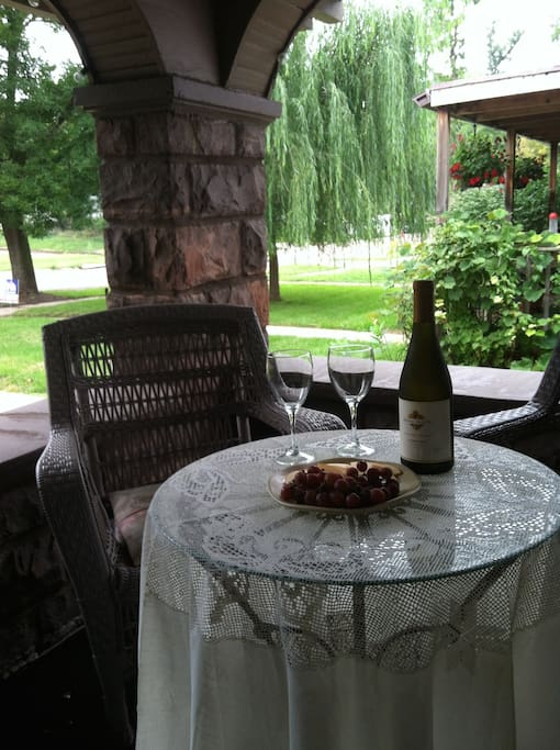Enjoy a glass of your favorite wine on our secluded veranda—we'll supply the glasses!