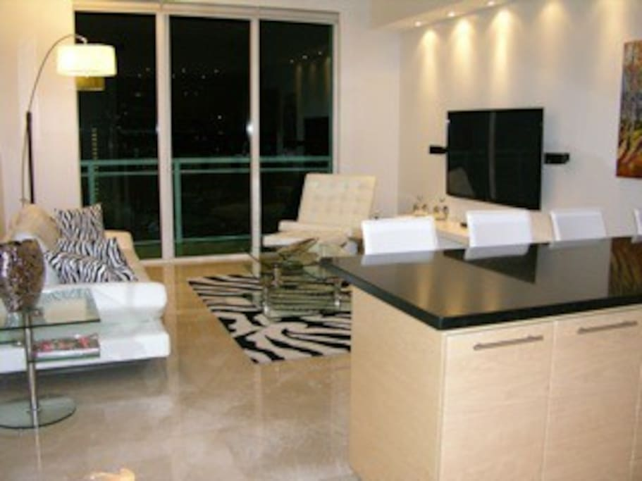 Modern designed living room with Cable TV included