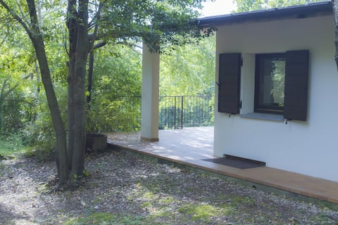 Large room with private bathroom, near the wood.