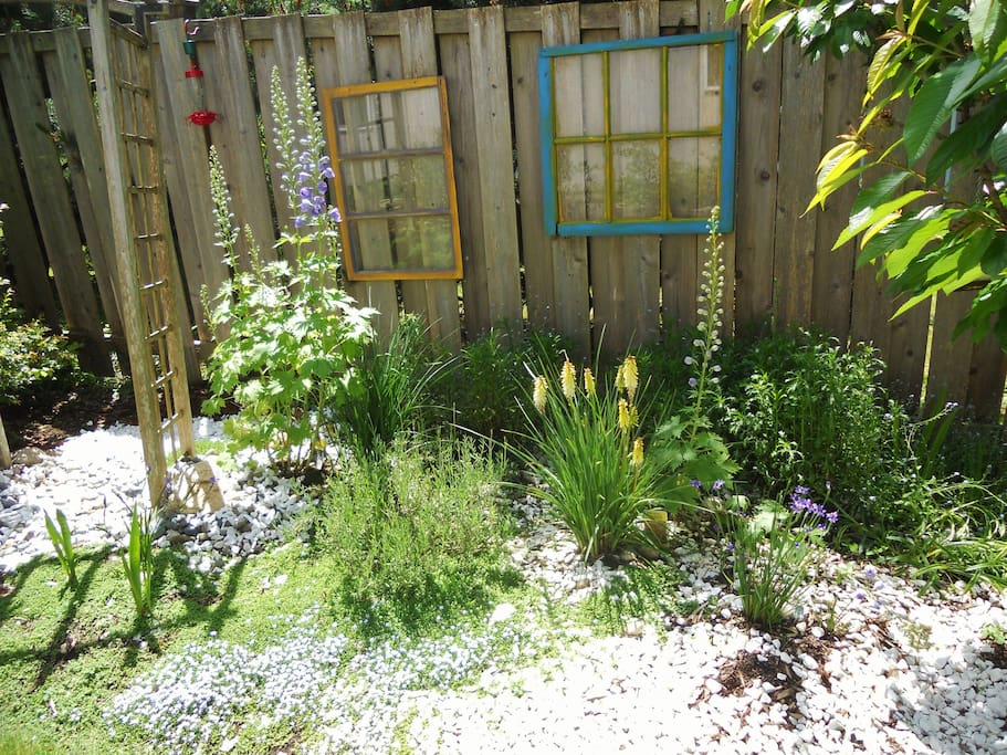 Low-maintenance yard and gardens are pesticide-free and carefully designed to attract hummingbirds, song birds, butterflies, and other friendly pollinators.