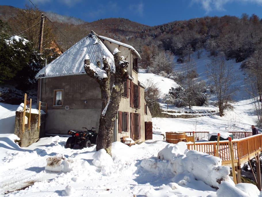 The house with snow.