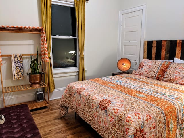 Bedroom #2 Has queen sized memory foam mattress. Outlets on each night stand, small fans and space heater included in room.