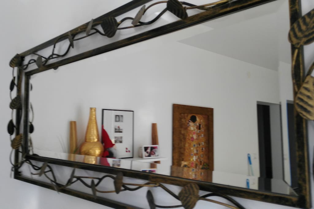 Mirror reflection in living room