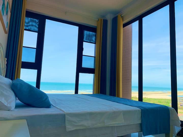 香舍910海景4房,270度所有房间全部海景,近侨港,楼下100多米就是海边浴场