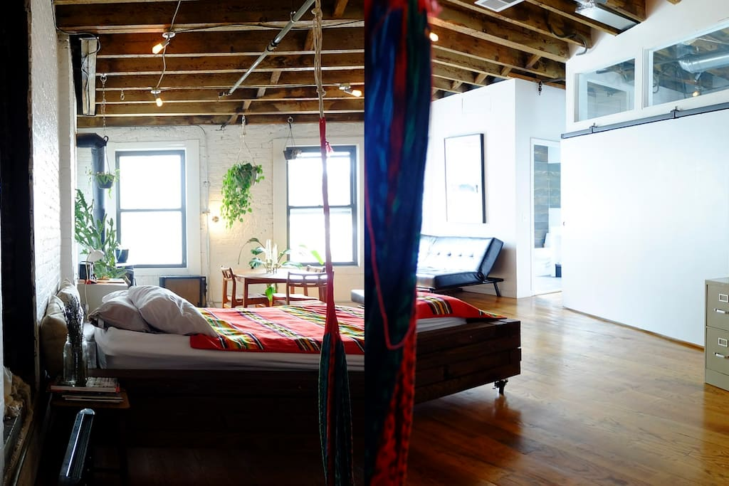 Approximately 550-700 sq feet loft- you will have more space in than any neighboring hotels  in the same pricing.