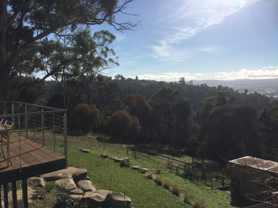 The view from your front door. That's why we call it the Bush Nook! (NB. The deck is on the neighbouring property)