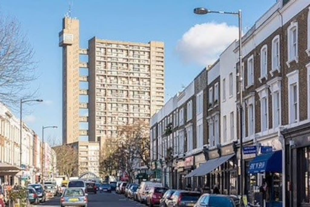 The flat is located in Trellick Tower, which was designed by Erno Goldfinger and is one of London's most famous Brutalist buildings.