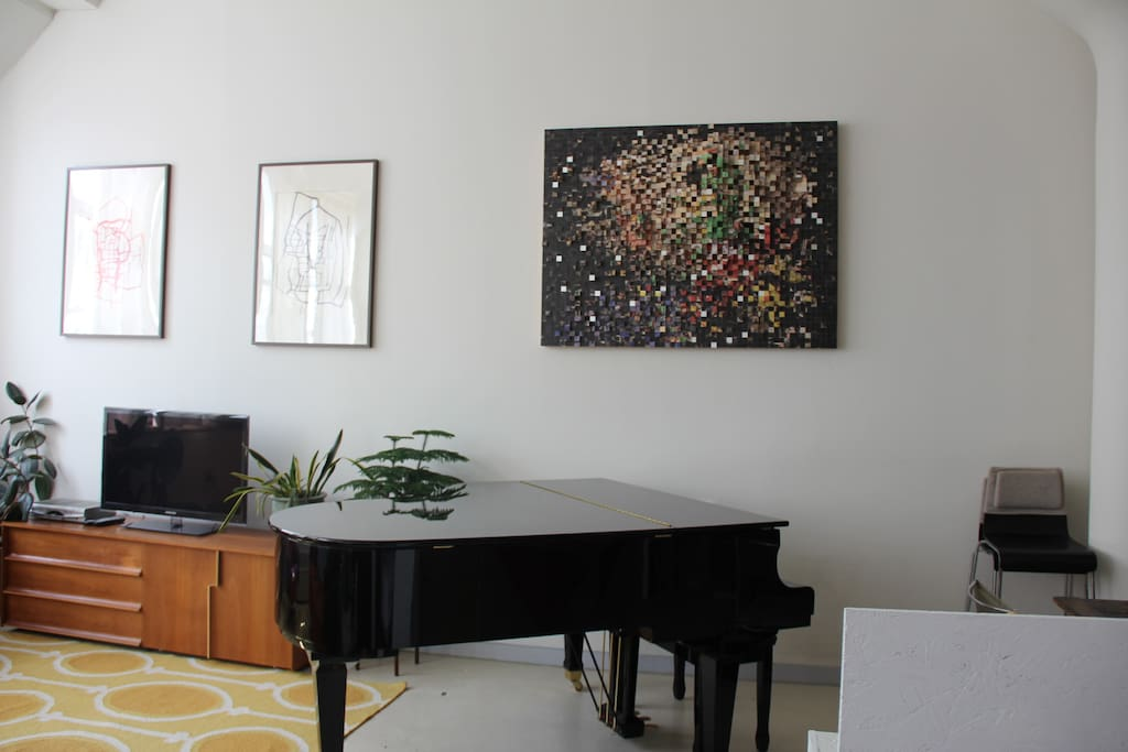 Piano next to living room