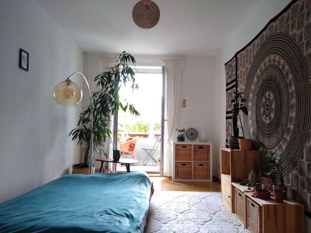 Cosy room with sunny balcony