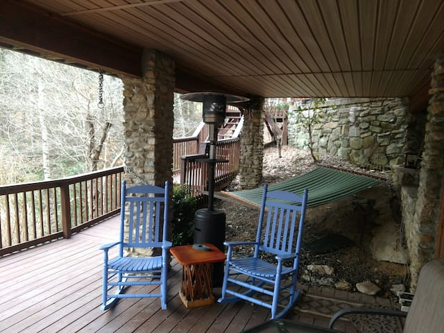 Covered Deck Overlooking The Pond