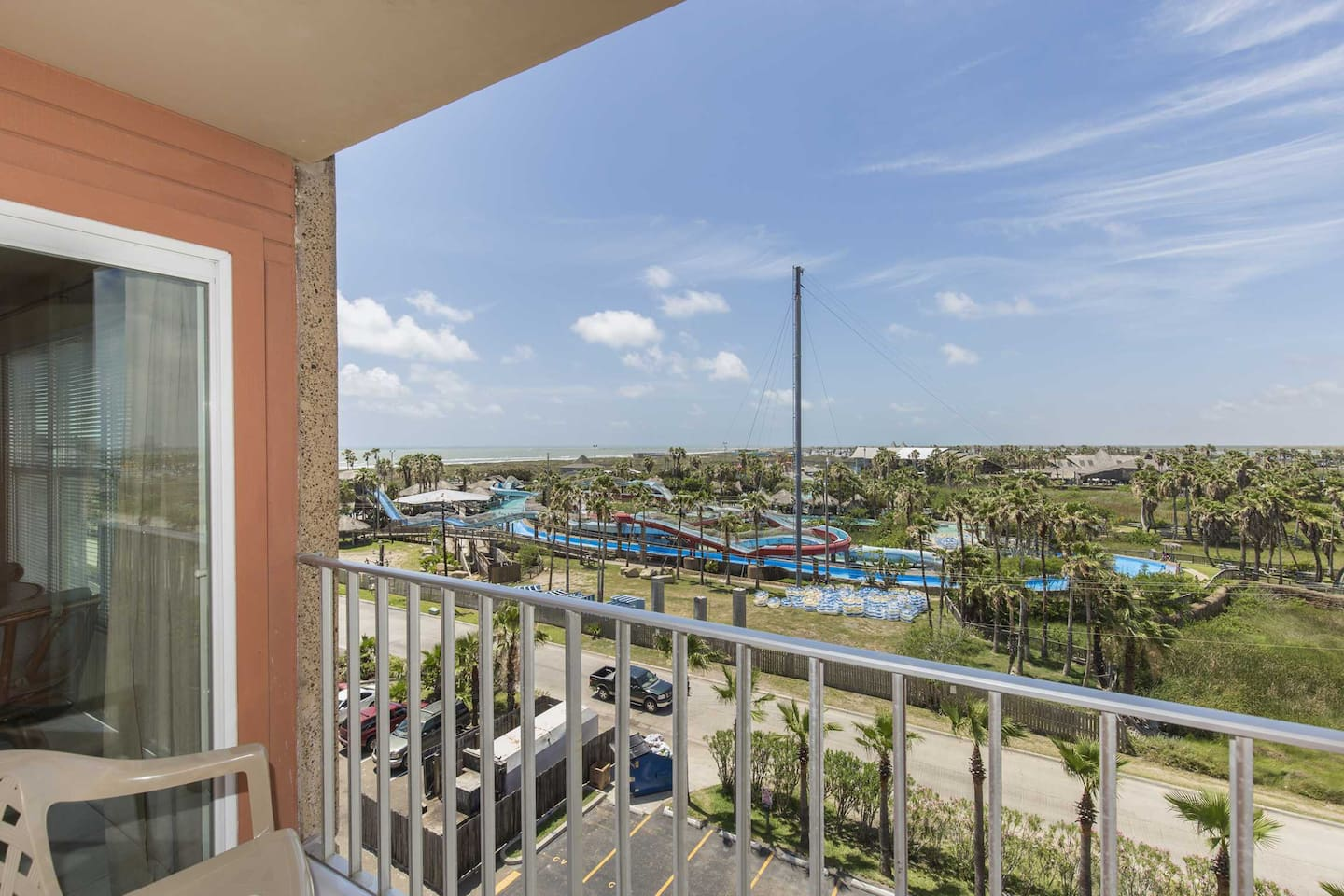 See how close you are to the Schlitterbahn Beach Water Park from the 6th floor view of Gulfview II 611.