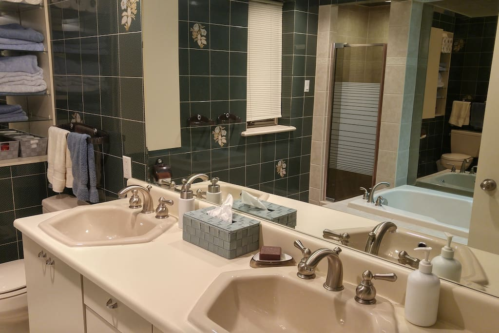 Your large luxurious  bathroom with double sinks.