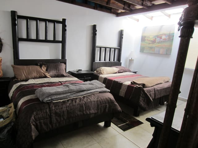 2nd bed room has 2 full size beds,