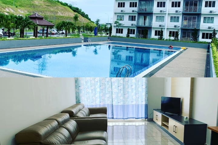 New fully furnished 3R3B apt with a/c and pool